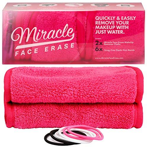 Original MIRACLE FACE ERASE | 2er Set Mikrofaser Make-Up Entferner Tuch | Abschminken und Reinigen nur mit Wasser - ohne Chemie | Microfaser Abschminktuch | hypoallergenes Gesichtsreinigungstuch | 40x18 cm (Pink)