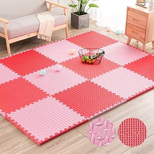 E.enjoy-Puzzlematten Ineinandergreifende weiche Kinder Baby Eva Schaum Aktivität Spielmatte Bodenfliesen Blattmuster (Color : Pink+red, Size : 36 Piece)