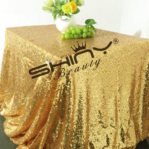 ShinyBeauty Gold 120x180cm Pailletten Tischdecke-120cmx180cm-Gold (Quadratische Rosa Tischdecke Bettwäsche)