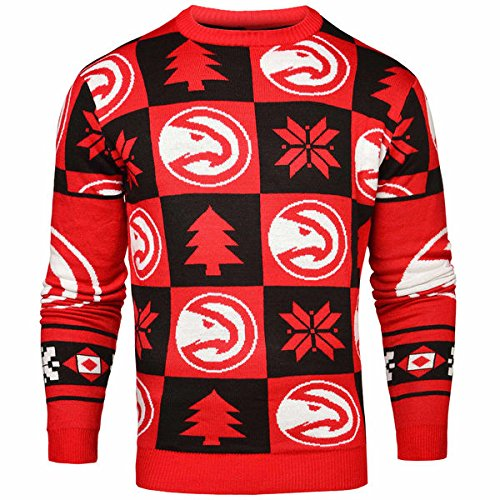 Forever Collectibles NBA Atlanta Hawks Ugly Sweater Pullover Christmas Weihnachtspullover Patches (L)