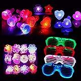 Dsaren Leuchtendes Spielzeug, 20 Pcs uper Helle LED Party Favors Einschließlich 12 Blinkend Ringe, 4 Partybrille und 4 Glowing Brooch (Zufällige Farbe)