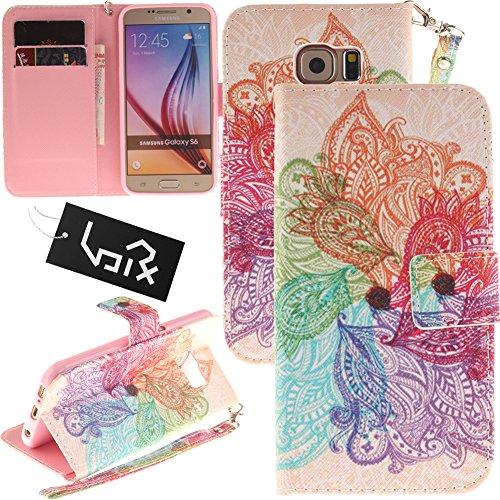 Urvoix Samsung Galaxy S6, Kartenhalter Stand PU Leder Brieftasche Hülle - Painted Lanyard Flip Cover für Galaxy S6(5,1 Zoll)