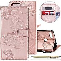 Herbests Leder Handy Schutzhülle für Huawei Honor 10 Lite Lederhülle Schmetterling Muster Leder Handyhülle Handytasche Brieftasche Ledertasche Bookstyle Flip Case Cover Klapphülle,Rose Gold