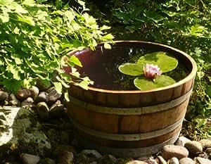 Demi tonneau de vin en bois de chêne transformé en pot à fleurs ou mini étang (diamêtre 70 cm) - Tonneau, fût de chêne, barrique de vin, pot, bac, Jardinière en bois pour le jardin