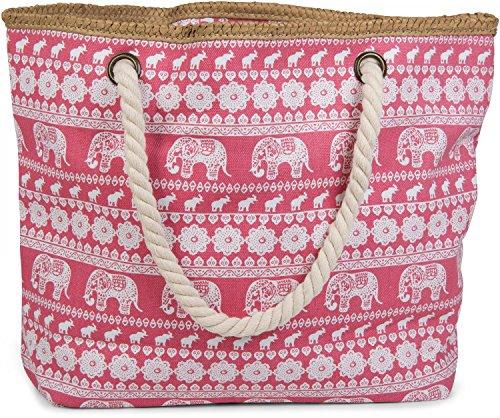 Rot Korb Geflochtenem Leder (styleBREAKER Strandtasche mit Ethno Elefanten Muster und Reißverschluss, Schultertasche, Shopper, Damen 02012063, Farbe:Koralle)