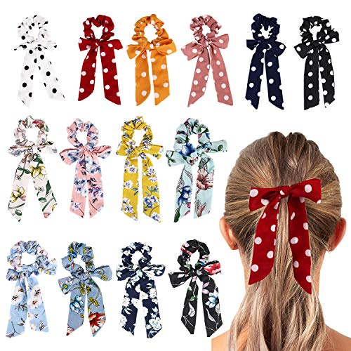 URAQT 14 Stück Colorful Bowknot Floral Hair Scrunchy Hair Ties, Ribbon Hair Ties Bow Elastic Hair Bands Ponytail Holder with Polka Dot, Accessory Rope for Women or Girls -