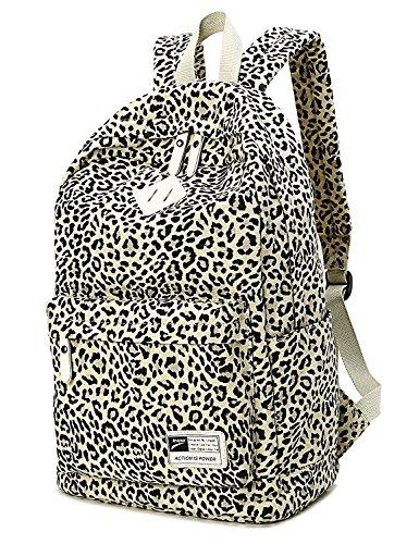 Yimidear zaino zainetto donna casuale leopardo selvaggio per viaggio outdoor sport palestra Nero