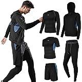 Superora 5 Pezzi Fitness Palestra Completi Sportivi Uomo Abbigliamento Sportivo Pantaloni Compressione Maglie Maglietta Panta