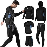 Superora 5 Pezzi Fitness Palestra Completi Sportivi Uomo Abbigliamento Sportivo Pantaloni Compressione Maglie Maglietta…