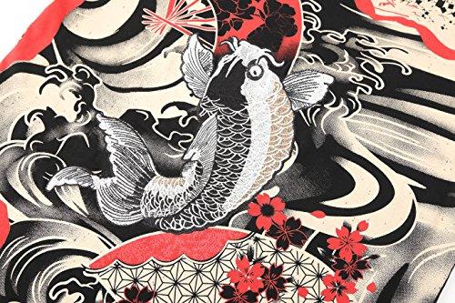 Pizoff Herren Japanisches still Design T-Shirt mit Koi Karpfen Stickerei C7001-01