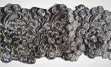 Glitzer Bordüre Sari Borte Blumen Spitze Stoff Stickerei breit für Kleider farbig zum nähen Farbvarianten (anthrazit grau)