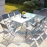 Mon Usine Discount Le Filomena : salon de jardin extensible table en aluminium et 8 chaises