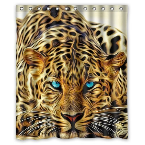 Generic Personalized Special Effect Leopard With Authentical Blue Eyes Wild Animal Print Shower Curtain Bath Decor Curtain 60 (Duschvorhang Animal-print)