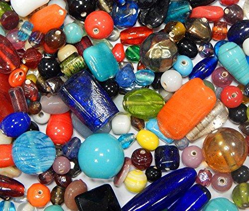100g Glasperlen Mix Kit Indian Glas Perlen zum Fädeln Silberfolie Lampwork Feuerpoliert Rund Kugel Bunt Perlenset Bastelset Für Schmuck zur Schmuckherstellung von Halsketten DIY Basteln Design (100)