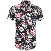 Daupanzees Men's Hawaiian Shirts Unisex Stylish Flower Printed Button Up Cotton Aloha Hawaii Short Sleeve Button Down Tropical Shirt (Black M)
