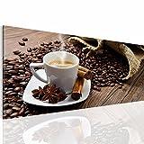 Bilder 100 x 40 cm - Coffee Bild - Vlies Leinwand - Kunstdrucke -Wandbild - XXL Format - mehrere Farben und Größen im Shop - Fertig Aufgespannt !!! 100% MADE IN GERMANY !!! - 501812a