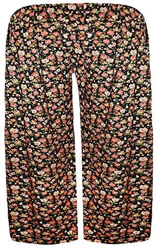 Chocolate Pickle® Neue Frauen Plus Size Hundezahn Abbindebatik drucken Wide Leg culottes 44-54 Black Ethnic Print