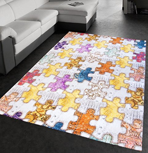 Arrediamoinsieme-nelweb tappeto salotto moderno puzzle arredo sala cameretta bambini bagno retro antiscivolo 5 misure disponibili mod.decor02 120x180