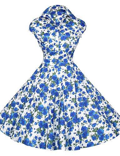 PU&PU Robe Aux femmes Grandes Tailles / Vintage / Soirée / Travail / Décontracté , Fleur / Imprimé Bateau Mi-long Coton blue-s