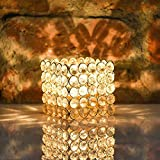 "Prisha India Craft Golden Crystal Tealight Holder Decorative Candle Holder For Party Decoration | Height 2.00"", Length 3.00"", Width 3.00"" Inch"