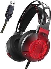 dodocool PS4 Gaming Headset, 7.1 Surround Sound PC Kopfhörer mit Mikrofon Lautstärkeregelung, Geräuschisolierung, LED Licht, USB Stecker, On Ear Ohrhörer für PS4 Mac PC Laptop Desktop (7.2ft / 2.2m Kabel)