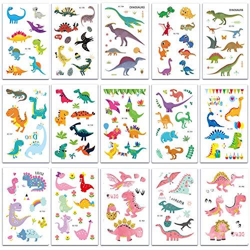 SZSMART Dino Kinder Tattoo Set 15 Blätter Temporär Tattoo Dinosaurier Kindertattoos Tattoo Sticker Aufkleber Verschiedene Motive Kinder Spielen (Tattoos Temporäre Zug)
