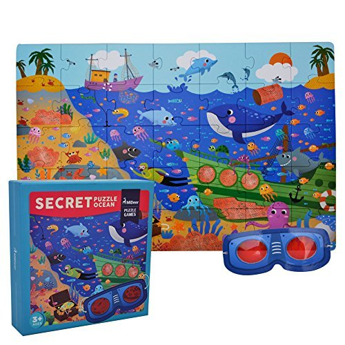 Happy-Time Kids Jigsaw Puzzle Educational Toys - Happytime Md3011 Secret Ocean Cardboard Big Pieces Puzzles (35 Pieces) Christmas For 3+ Years Old Children Toddlers