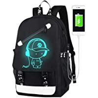 School Bags,Anime Luminous Backpack USB chargeing Port Laptop Bag Handbag Canvas Shoulder Daypack for Cool Girls Boys…