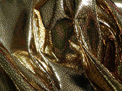 Stoff Latex (Lackstoff GOLD mit Schlangenmuster Meterware Latex)