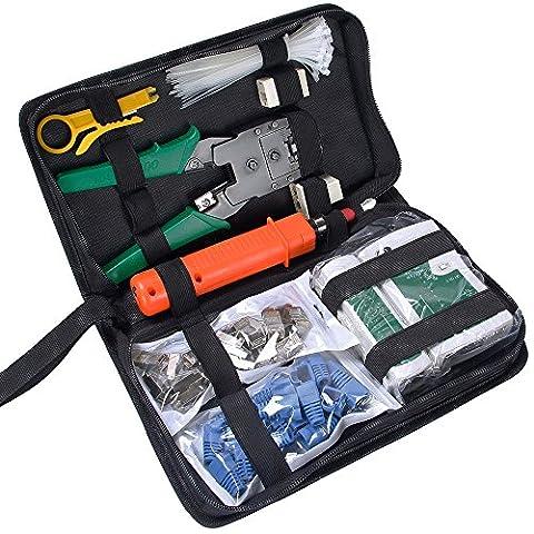 SGILE Testeur de Network Réseau Câble Kits d'outils de Réparation d'Ordinateur Net Professionnel Maintenance de Testeur de Câble LAN 9 en 1 Outils