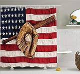 JIEKEIO Sports Decor Shower Curtain Set, Vintage Baseball League Equipment with Usa American Flag Fielding Sports Theme, Bathroom Accessories, 60 * 72inch, Brown Red Blue