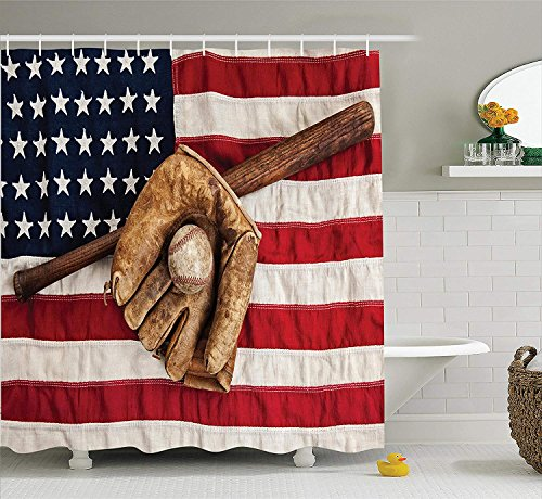 JIEKEIO Sports Decor Shower Curtain Set, Vintage Baseball League Equipment with Usa American Flag Fielding Sports Theme, Bathroom Accessories, 60 * 72inchs Long, Brown Red Blue