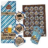 SET 25 + 24 Aufkleber SCHÖN DASS DU DA BIST blau weiß kariert bayerische Motive Souvenir Geschenk-Verpackung Oktoberfest Bierfest Bayern Bier Breze Dirndl Lederhose Herz