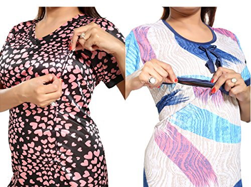 Tucute-Women-Beautiful-Heart-print-Satin-with-invisible-Zip-1494-Strips-Print-Feeding-maternity-Nursing-Nighty-Night-Gown-Night-Dress-Nightwear-Free-Size-Pack-of-2-Pcs-Style-no-1494
