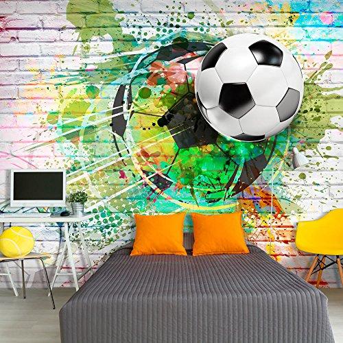 *murando – Fototapete Fussball 400×280 cm – Vlies Tapete – Moderne Wanddeko – Design Tapete – Wandtapete – Wand Dekoration – Fußball Ziegel Graffiti Kindertapete Kinderzimmer Kinder i-B-0044-a-a*