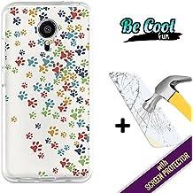 Becool® Fun- Funda Gel Flexible para Meizu MX5 [ +1 Protector Cristal Vidrio Templado ]Carcasa TPU fabricada con la mejor Silicona, protege y se adapta a la perfección a tu Smartphone y con nuestro exclusivo diseño Huellas coloridas de Perro