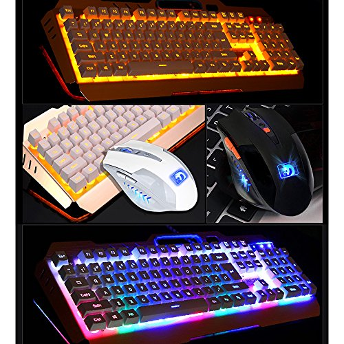 Normia Rita Mamba Mechanical Touch Keyboard and Mouse Combo Rainbow Backlight Wired Keyboard Gaming Internet Cafes LOL – Silver Black - 6