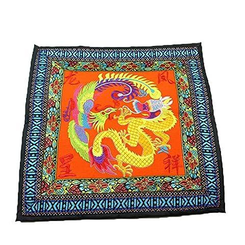 coolsummer Yunnan chinois style broderie ethnique chain-long Feng Collection de Paix et bonheur Motif épaissir coton lin carré décoratif taie d'oreiller Fashion Couvre-lit 45,7x 45,7cm