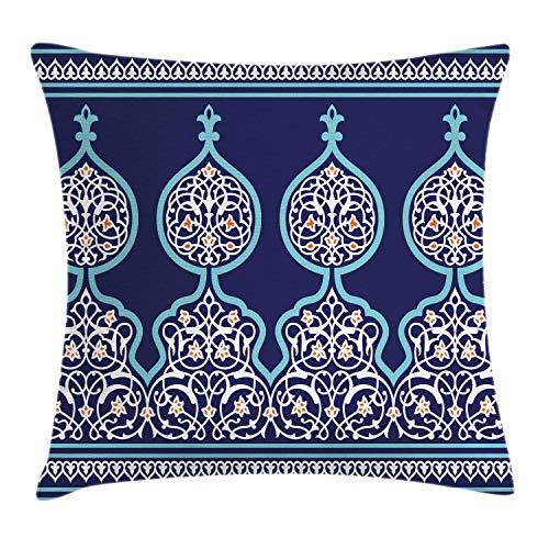 ch Kissenbezug, Mystisches orientalisches Design, Waschbar mit Reißverschluss Kissenhülle mit Farbfesten Klaren Farben Beidseitiger Druck, 50 x 50 cm, Königsblau Teal ()