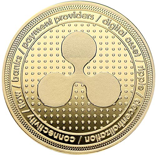 "Echte ""Ripple""-Münze in Goldprägung - Crypto-Coin Mining Miner Medaille Sammelmünze in 40mm x..."