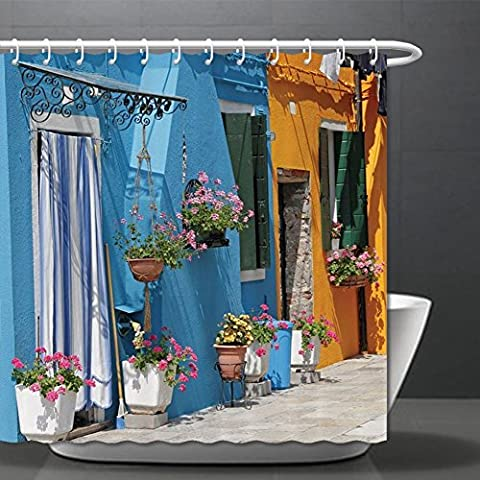 Tuscan Decor Collection Entrance to Retro House with Brick Road and Flowers Picture Polyester Fabric Bathroom Shower Curtain Set with Hooks Mustard Blue Pink Ivory ¸±±¾