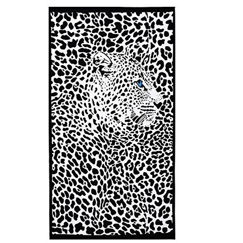 CHENGJIUWEILAI Strand/Badetuch Oversized Microfiber Mikrofaser Handtuch Baden Schwimmen Beach Chair Cover Schwarz und Weiß Leopard Print 100 * 180 cm