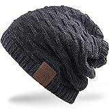 Rotibox 2IN1 Waschbarer Winter Mens Womens Trendy Bluetooth Beanie Hat Schal Wireless Stereo Kopfhörer Mic Hands Free Akku für Handys, iPhone, iPad, Android, Laptops, Tablet - Schwarz