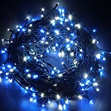 JnDee™ 300LED Safe Voltage Fully Weatherproof Fairy Lights Alternate Blue & White for Christmas Tree Wedding Parties 30M plus 10M Lead Cable