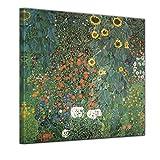 Bilderdepot24 Kunstdruck - Alte Meister - Gustav Klimt - Bauerngarten mit Sonnenblumen - 40x40cm einteilig - Leinwandbilder - Bild auf Leinwand