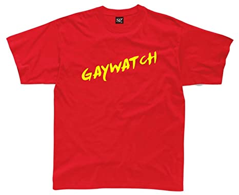 GAYWATCH Mens Funny Printed T-Shirt: Amazon.co.uk: Clothing