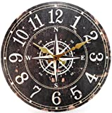 zeitlose Wanduhr Kompass 34 cm Ø Maritim Navigation Uhr Navigationsstern Deko GRF 39.0737