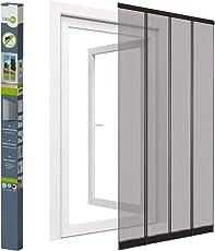 Easy Life Insektenschutz Tür Vorhang in Anthrazit mit Hochwertigen Fiberglas Lamellen und PVC Klemmleiste Premium Fliegenvorhang