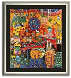 Poster Kunstdruck / Bild Hundertwasser 30 Tage Fax mit Rahmen 71,5x80 cm