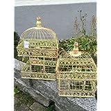 Maceta jaula jaula decorativa pájaro jaula pájaro Juego de 2pares Shabby estilo antiguo
